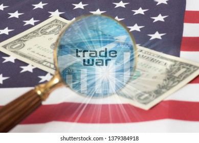 Flag of USA, dollar bill, a magnifying glass and the trade war