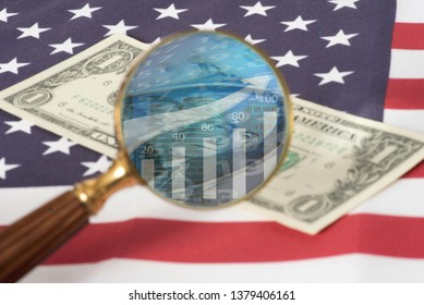 Flag of USA, dollar bill and stock quotes on the American Stock Exchange