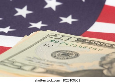 Flag of USA and dollar bills