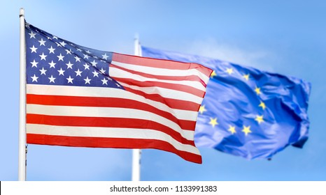 Flag USA and Europe isolated on sky background