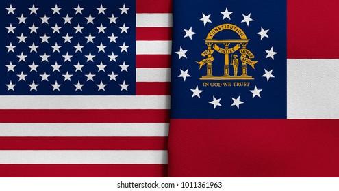 Flag of USA and Georgia state (USA)