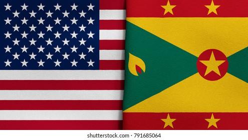 Flag of USA and Grenada
