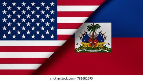 Flag of USA and Haiti
