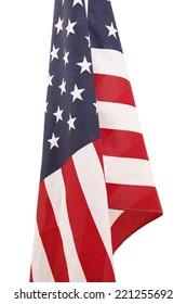 flag usa hanging on white