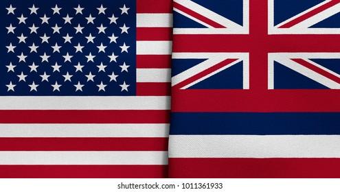 Flag of USA and Hawaii state (USA)