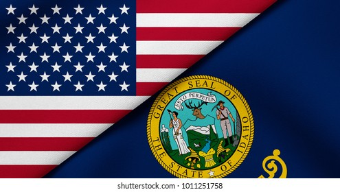 Flag of USA and Idaho state (USA)