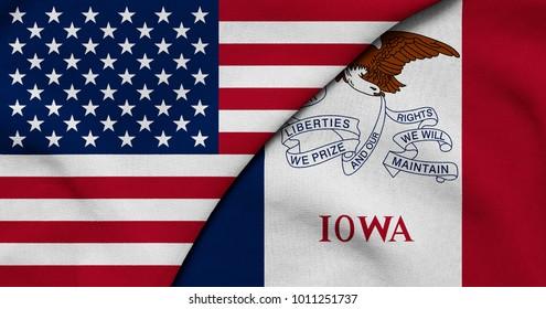 Flag of USA and Iowa state (USA)
