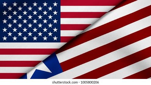 Flag of USA and Liberia