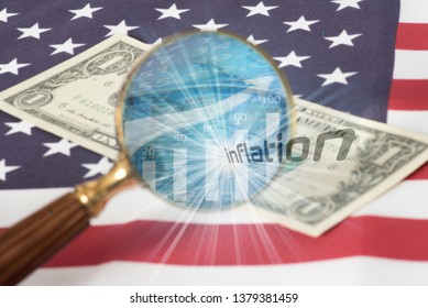 Flag of USA, magnifying glass, dollar bill and inflation in America