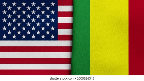 Flag of USA and Mali