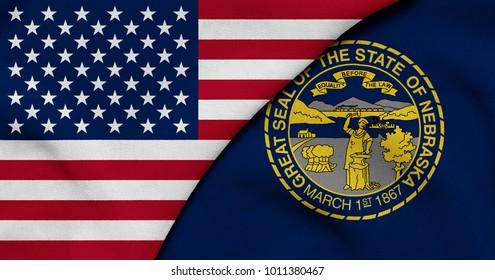 Flag of USA and Nebraska state (USA)
