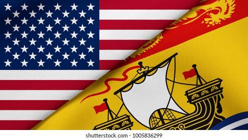 Flag of USA and New Brunswick