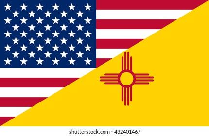 Flag of USA and New Mexico state (USA)