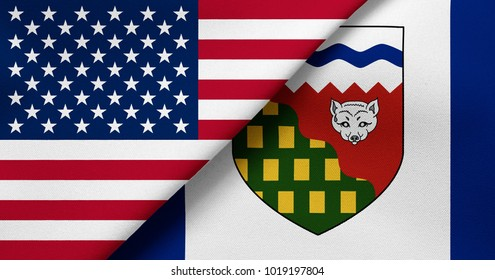 Flag of USA and Northwest Territories