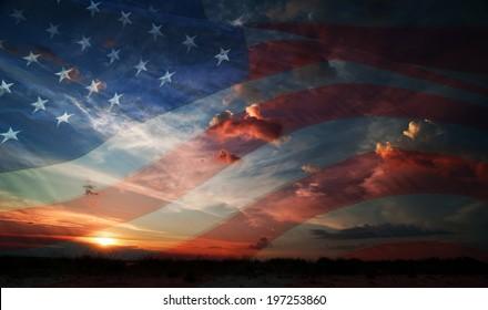 flag usa on the background of sunrise
