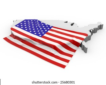Flag of USA on card of the North America.