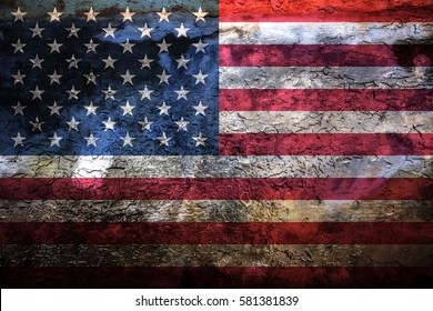 Flag of USA on a cracked wall