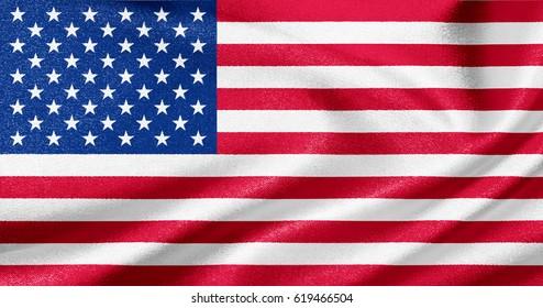 Flag of USA on satin texture