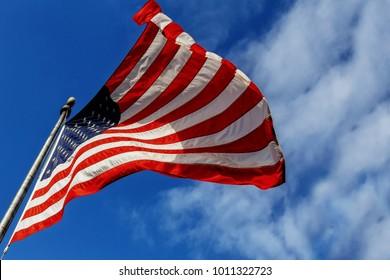 Flag USA over blue sky background