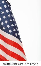 Flag of USA over white background