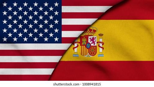 Flag of USA and Spain