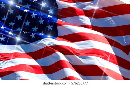 Flag of the USA with sparkles