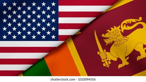 Flag of USA and Sri Lanka