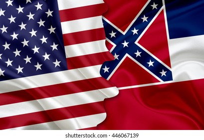 Flag of USA and flag of the State of Mississippi