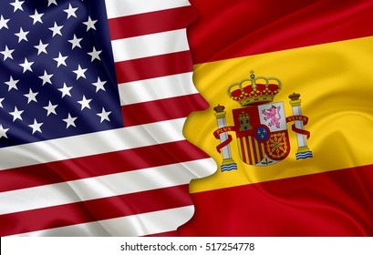 Flag of USA (United States of America) and flag of Spain (Kingdom of Spain). 3D-illustraition