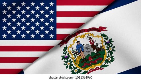 Flag of USA and West Virginia state (USA)