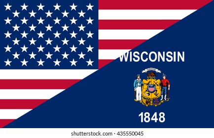 Flag of USA and Wisconsin state (USA)
