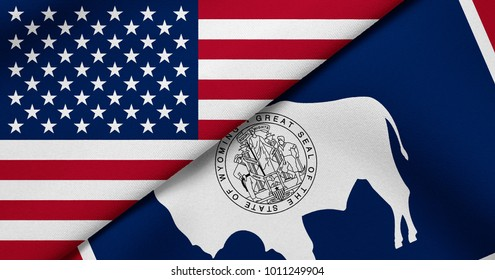 Flag of USA and Wyoming state (USA)
