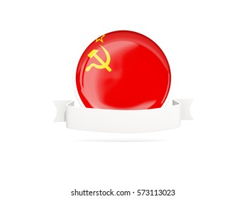 Flag of ussr with empty banner  isolated on white. 3D illustration
