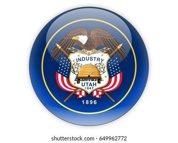 Flag of utah, US state icon isolated on white. 3D illustration