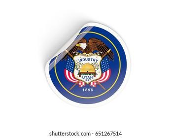 Flag of utah, US state round sticker isolated on white. 3D illustration