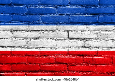 Flag of Valledupar, Colombia, painted on brick wall