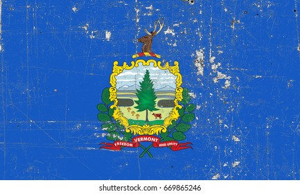 The Flag Of Vermont. The state flag in grunge style