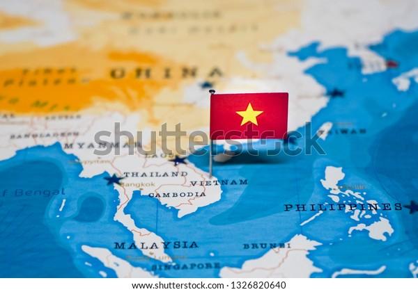 Flag Vietnam World Map Stock Photo (Edit Now) 1326820640