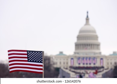 A flag is waved at the inauguration ceremony in 2013 for Barack Obama.
