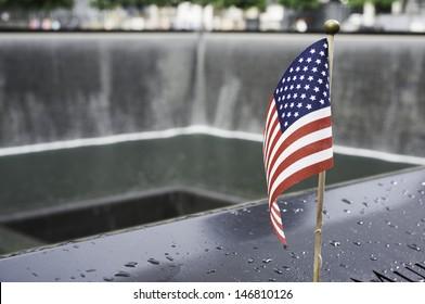 Flag at World Trade Center Memorial