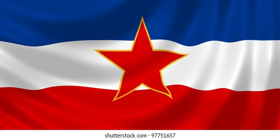 Flag of Yugoslavia  waving in the wind detail