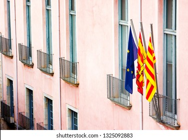 Flage of European union, Spain and Catalonia. Girona