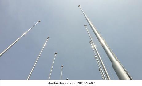 A flagpole toward the sky