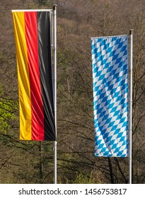 Flagpoles with German and Bavarian Flag