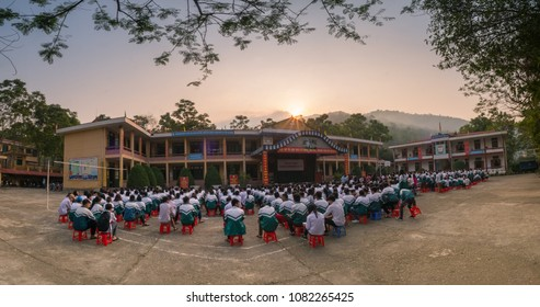 a flag-raising class on Monday of a high school in DIEN BIEN PROVINCE - VIET NAM. date 22/04/2018