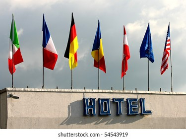 Flags above the hotel