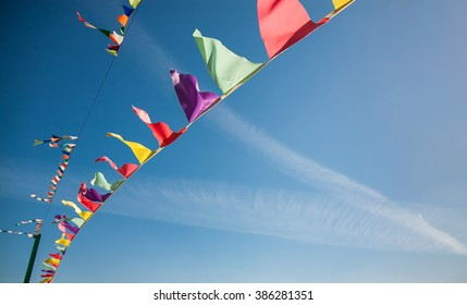 Flags against the blue sky