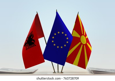 Flags of Albania European Union and Macedonia