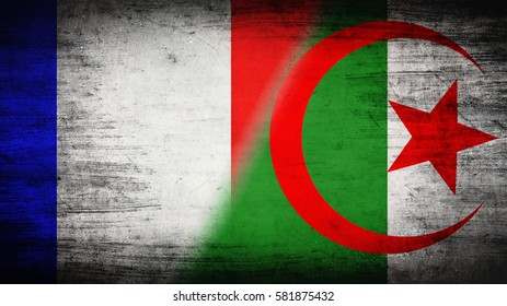 Flags of Algeria and France divided diagonally