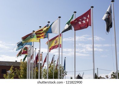 Flags of all communities in the Spanish state and the nation itself